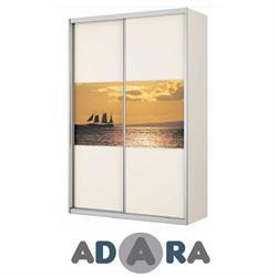 ארון הזזה שתי דלתות ברוחב 1.6 מטר MDF עם הדפסה על זכוכית ומסגרת אלומיניום