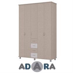 ארון בגדים 5 דלתות ו 4 מגירות עשוי MDF על במה