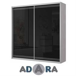 ארון הזזה שתי דלתות MDF ברוחב 2.4 מטר עם זכוכית לקובל ומסגרת אלומיניום
