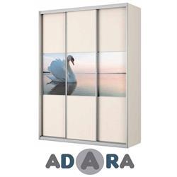 ארון הזזה שלוש דלתות ברוחב 1.8 מטר MDF הדפסה על זכוכית ומסגרת אלומיניום