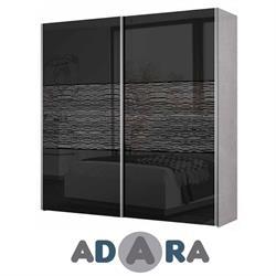 ארון הזזה שתי דלתות ברוחב 2.4 מטר MDF עם זכוכית לקובל פסי ניקל ומסילות רחף