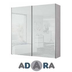 ארון הזזה שתי דלתות רוחב 2.4 מטר MDF עם זכוכית לקובל פסי ניקל ומסילות רחף