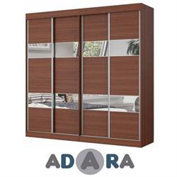 ארון הזזה ארבע דלתות רוחב 3.2 מטר MDF בשילוב פסי מראות בדלתות