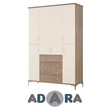 ארון בגדים 6 דלתות ו 4 מגירות עשוי MDF בשילוב צבעים על במה וקרניז עליון