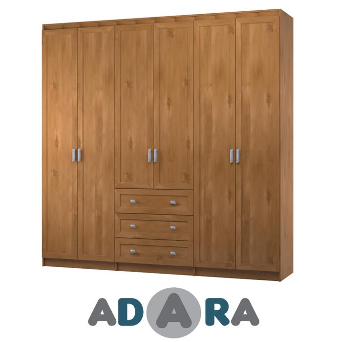 ארון בגדים 6 דלתות ו 3 מגירות עשוי MDF