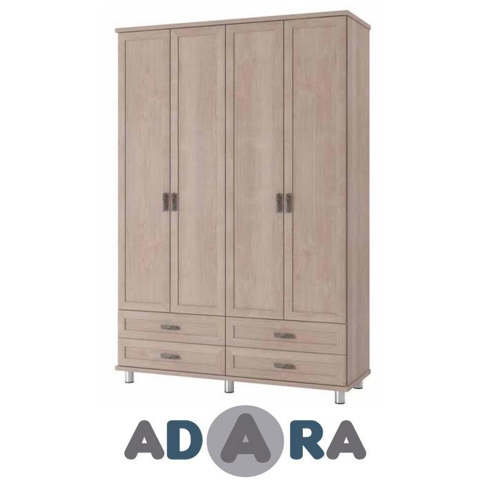 ארון בגדים 4 דלתות ו 4 מגירות MDF על במה